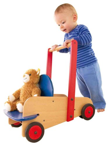 HABA Walker Wagon - First Wooden Push Toy with Seat & Storage for 10 Months and Up (Made in Germany)