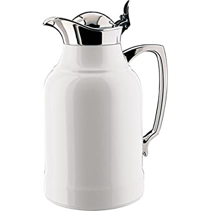 Image of Home Improvements alfi Opal Glass Vacuum Lacquered Chrome Plated Brass Thermal Carafe for Hot and Cold Beverages, 1.0 L, White