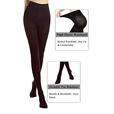 DancMolly Women's Opaque Tights Basic Control-Top Footed Hosiery at Women's Clothing store