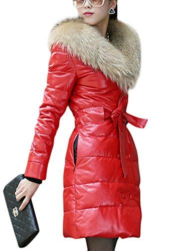 Brinny Automne et Hiver aux Femmes Doudoune Matelass Veste en Cuir de Mode Slim Fit Long Parka Pardessus Manteau en Cuir PU Haut Qualit Grande Raccoon Fourrure Col Noir / Rouge 6 Taille Rouge