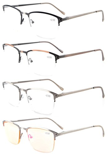 Eyekepper 4-Pack Quality Spring Hinges Brushed Metal Frame Half-rim Reading glasses Included Computer Glasses - Glasses Half Rim Frames