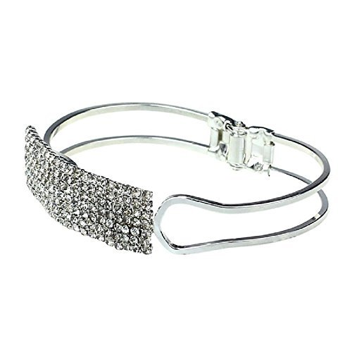 Lisingtool Lady Elegant Bangle Wristband Bracelet Crystal Cuff Bling Gift (Silver) Crystal Cuff Cross