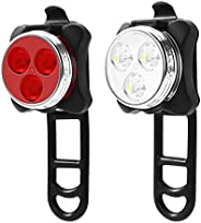 USB Rechargeable Led Bicycle Light Set, IPX4 Waterproof Cycling Bike Headlight Taillight Combinations - Front