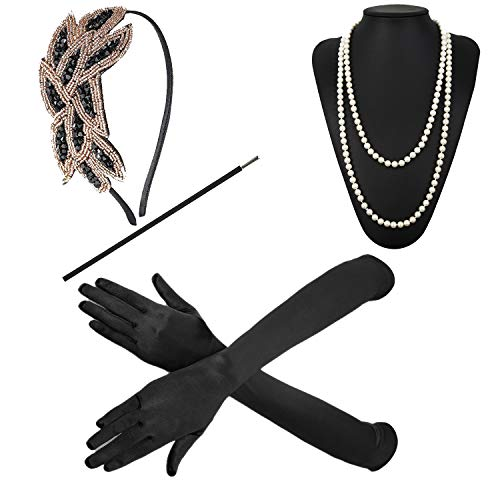 1920s Accessories Feather Jewel Headband Faux Pearl Necklace Gloves Cigarette Holder by -