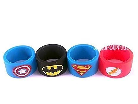 Bandas para vapeador (4 unidades, diseño al azar) de 19 mm x 12 mm, de Batman, Superman, Capitán América, Flash, para vaporizador RTA y RDA, de ...