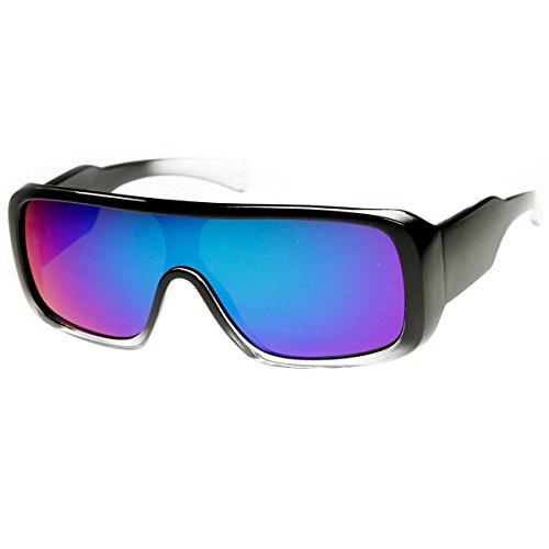 zeroUV - Rectangle Mono Flash Mirror Shield Lens Action Sports Sunglasses (Black-Fade - Rectangle Sunglasses Mirror