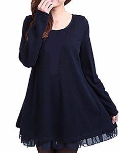Abito Maglione vestito donna nero manica lunga con pizzo sulla schiena elastico