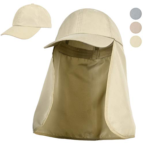 35f974b9fb267 Tirrinia Outdoor Sun Protection Fishing Cap with Neck Flap for Baseball  Backpacking Cycling Hiking Garden Hunting Camping Tan