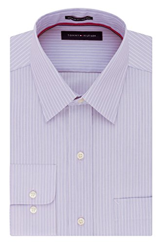 Tommy Hilfiger Men's Pinpoint Regular Fit Solid Button Down Collar Dress Shirt, 18.5