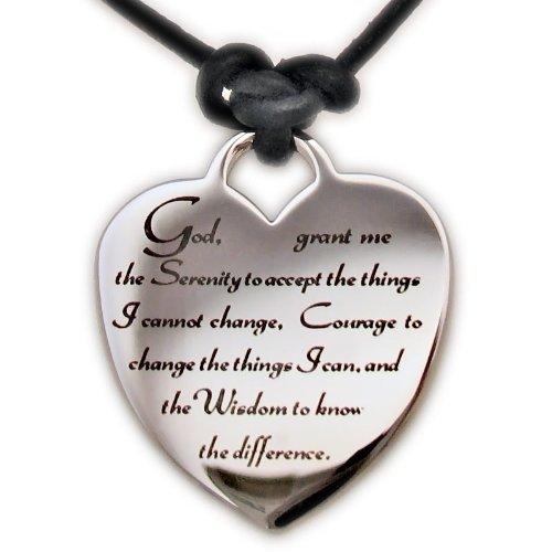 Serenity Prayer Heart Leather Necklace (Prayer Serenity Heart)