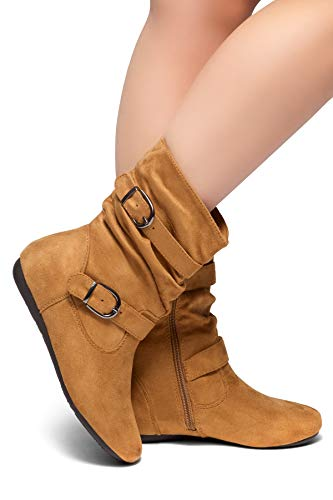 Herstyle Marvel Womens Round Toe, Riding Boots, Fashion Casual Slouchy Calf Flat Heel,Side Zipper Ankle Boots
