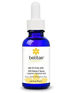 Vitamin C Serum by Belitae, Topical Facial Serum for Face and Skin With Hyaluronic Acid, 1 fl oz.
