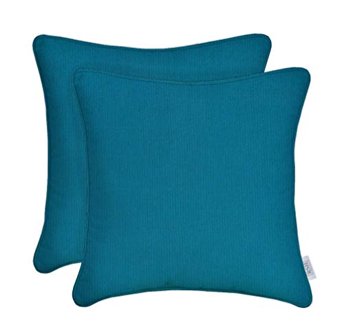RSH Décor Set of 2 Indoor Outdoor Decorative Corded Square Throw Pillow Zipper Covers Made of Sunbrella Spectrum Peacock (Cover + Insert, 24