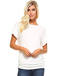 Dolman Top With Side Shirring Oversize Batwing Sleeve Womens Tops