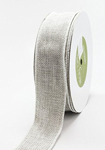 May Arts Silver Grey Burlap Wire Wired Edged Hessian Jute Ribbon 2m by May Arts