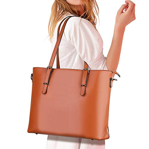 Coolqiya Tote Handbag Laptop Shoulder Bag Soft Leather Business Work School for Women, Brown