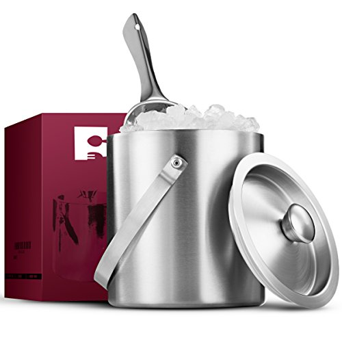 FineDine Brushed Stainless Steel Double-Walled Ice Bucket with Lid, Compact Heavy-Duty Metal Ice Bucket with Handle and Wide Tapered Scoop for Half Gallon of Ice and Chilling Wine and Liquor Bottles.