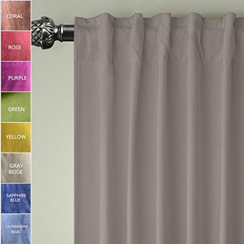 ChadMade Set of 2 Back Tab/Rod Pocket 2 IN 1 Heading Matt Velvet Curtain Panel Drapery In Gray Beige 50