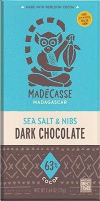 MADECASSE 63% Chocolate With Sea Salt And Nibs, 2.64 OZ