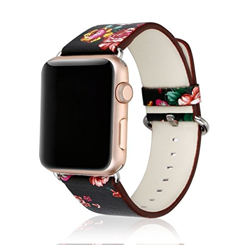 Airror Compatible with Apple Watch Bands 38MM, Replacement iWatch Band for Apple Watch Series 3/2/1, Apple Edition - Leather Flower Pattern Watch Bands 38MM