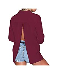 Sexy Backless Button Up Slit Back Blouse Tops Casual T Shirt Tee Top for Girl Women