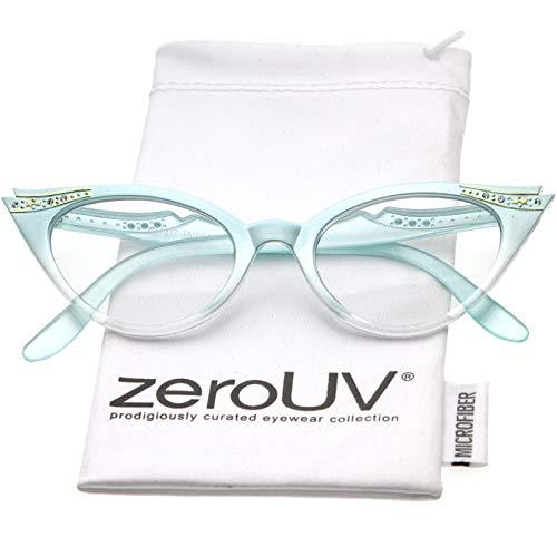Fashion Embellished - Women's Retro Rhinestone Embellished Clear Lens Cat Eye Glasses 51mm (Mint/Clear)