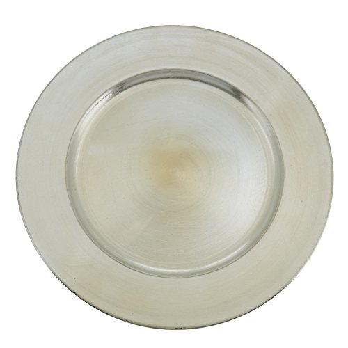 "SARO LIFESTYLE Couleurs du Monde Collection Classic Design Charger Plate 13""x13"" Round Platinum"