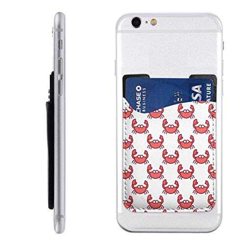 (Red Crab On White Cute Sea Phone Card Holder for Back of Phone, Stretchy Wallet Stick On Pocket Credit Card ID Case Pouch Compatible with All Smartphones)