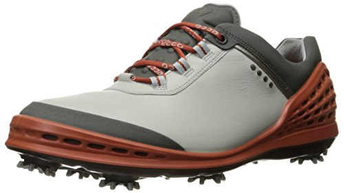 ECCO Men's Cage Golf Shoe, Concrete/Orange, 44 EU/10-10.5 M - Definition Concrete Of