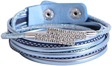 Pulsera de cristal de piedra triturada fina de cuero de imitación de múltiples capas pulsera brazalete Abrigo de la pulsera Pulseras del abrigo Sujetador ...