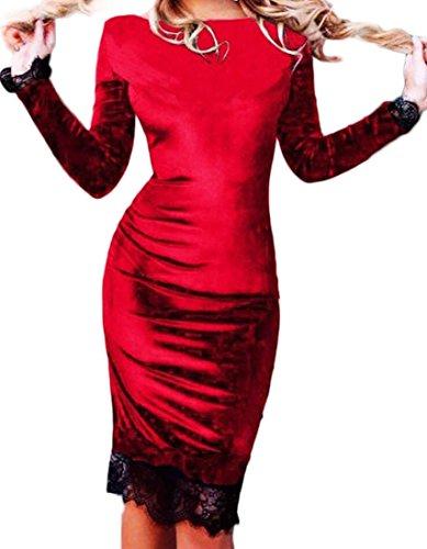 Patchwork Red Sleeve Velvet Bodycon Long Domple Crewneck Women Stylish Dress Lace wqxvSABXt