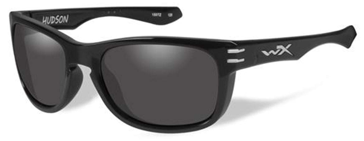 WileyX Hudson Sunglasses, Smoke Grey Lenses, Offered in Gloss Black color from Eyeweb