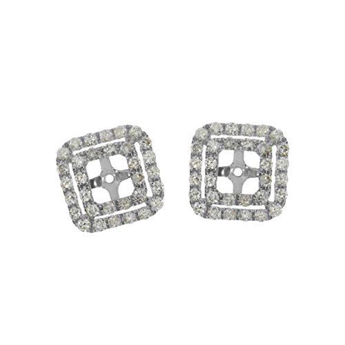 1.02 Carat (ctw) 14k White Gold Round Diamond Square-Shaped Earring Jackets with Post with Friction (Diamond Square Shaped Earrings)