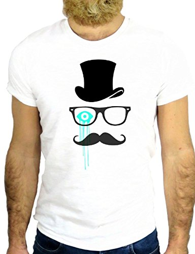 T SHIRT JODE Z1758 MUSTACHE CARTOON HAT GLASSES FUNNY COOL FASHION GGG24 BIANCA - WHITE L