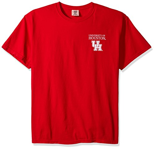 NCAA Houston Cougars Simple Circle Comfort Color Short Sleeve T-Shirt, Red,X-Large