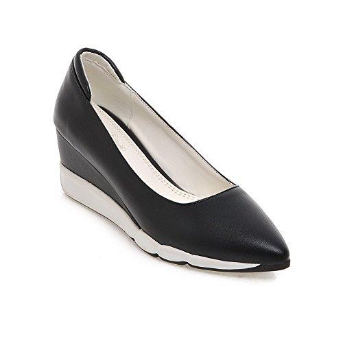Amoonyfashion Donna Materiale Morbido A Punta Chiusa Con Ginocchiera Scarpe-tira-scarpe Nere
