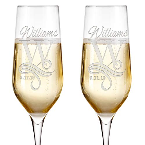 Set of 2 Personalized Wedding Champagne Flutes Engraved Glass Bride and Groom Gift Wedding Favors - Design 4