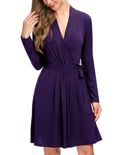 - Le Vonfort Women's Long Sleeve Crossover V Neck Casual Swing A Line Belted Faux Wrap Dress Purple Small