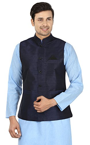 Men's Sleeve Less Silk Traditional Indian Closed Neck Waistcoat (Blue, M)
