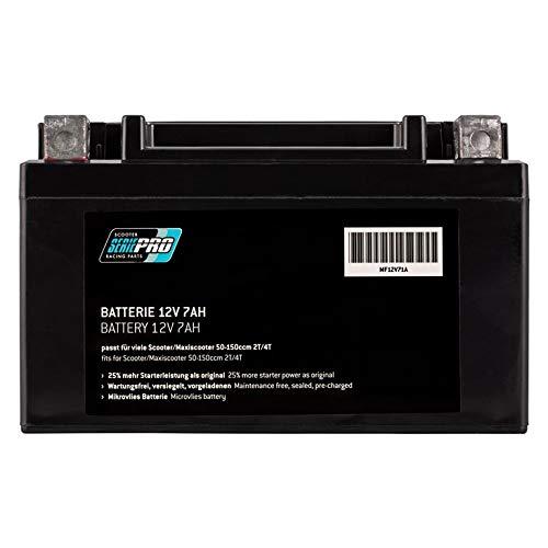 precargada Serie Pro Bater/ía de 12 V//7 Ah microfieltro 152 x 87 x 95 mm sellada 152 x 87 x 95 mm sin Mantenimiento Tipo: YTX7A-BS se Adapta a Muchos Scooter//maxiscooter 50-150 CCM 2T//4T AC//LC