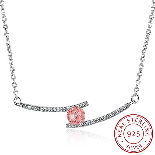 GYXYZB Charm 925 Sterling Silver Natural Strawberry Crystal Micro Zircon Line Chain for Women Choker