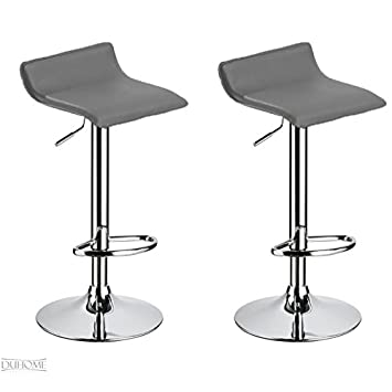 Pleasant Duhome 0147 Set Of 2 Bar Stools Height Adjustable Artificial Leather Grey Ibusinesslaw Wood Chair Design Ideas Ibusinesslaworg