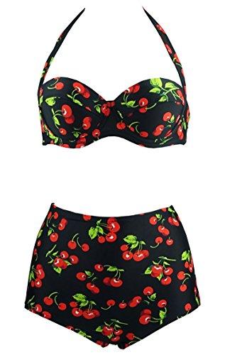 Cocoship Flamingo Waisted Vintage Swimsuit