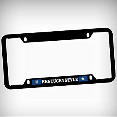 Kentucky Style Zinc Metal Tag Holder Car Auto License Plate Frame Decorative Border - Black Sign for Home Garage Office Decor