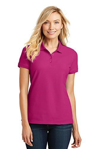 Port Authority Ladies Core Classic Pique Short Sleeved Golf Polo, Small, Pink Azalea (Top Core Polo)