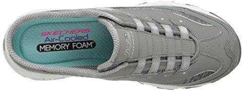 D39;Lites Skechers White on Gray Mule Sport Slip Sneaker vvaqWr85w
