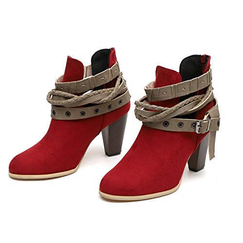 Zipper Women's UK Size Red Rivet Back 2 Boots Cool Shoes Block Faux Mid Stylish 8 Heels HAINE Suede Ankle 8 dIwpIA