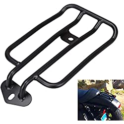 Iglobalbuy Motorcycle Black Steel Standard Rear Fender Rack Plated Luggage Shelf For Solo Seat For HD Harley 2004 & LATER XL SPORTSTER See picture for detail measurement Provide by XKH