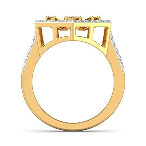 Or jaune 18K, 0,53carat Diamant Blanc (IJ | SI) Saphir Jaune et diamant Bague