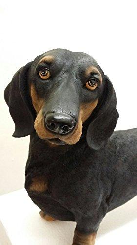 Black Dachshund Dog Statue Figurine